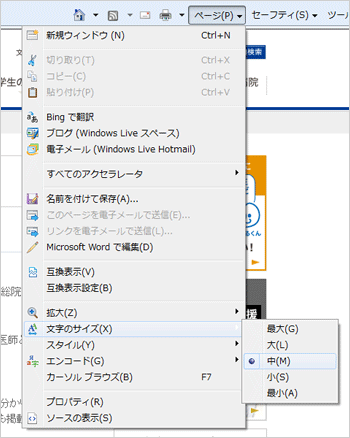 インターネットエクスプローラー(Internet Explorer)の場合